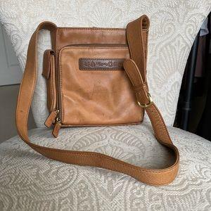Vintage Brown Leather Fossil Messenger Bag